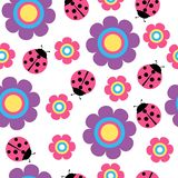 Cute flower and ladybug seamless vector pattern royalty free illustration