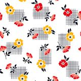 Cute flower pattern on geometric background royalty free stock photography
