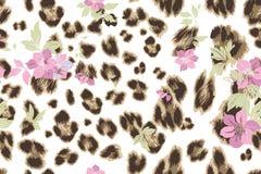 Cute flower seamless mix leopard  pattern Stock Photos