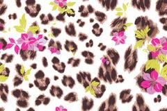 Cute flower seamless mix leopard  pattern Stock Photography