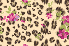 Cute flower seamless mix leopard  pattern Royalty Free Stock Photos