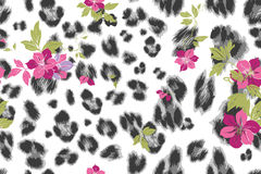 Cute flower seamless mix leopard  pattern Stock Images