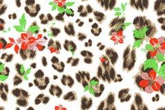 Cute flower seamless mix leopard  pattern Royalty Free Stock Photo