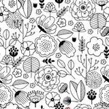 Cute flower seamless pattern Линейный график Флористическая предпосылка Скандинавский тип также вектор иллюстрации притяжки corel Иллюстрация штока