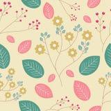 Cute flower seamless pattern on yellow background stock illustration