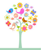 Cute flower,tree and bird Stock Photo