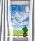 Cute flowering cactus sitting in a sunny house window Royalty Free Stock Image