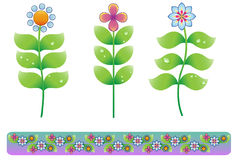 Cute Flowers. Cute colorful floral design with border Vector Illustration