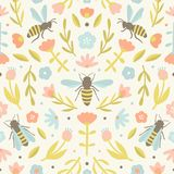 Cute flowers and bees. Vector hand drawn seamless pattern stock illustration