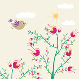 Cute flowers and bird Stock Photos