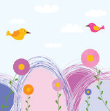 Cute flowers and birds Royalty Free Stock Image