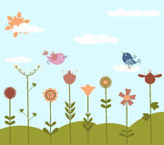 Cute flowers and birds vector illustration