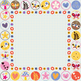 Cute flowers, birds & hearts decorative border Royalty Free Stock Photography