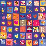 Cute flowers birds and hearts nature pattern Royalty Free Stock Photography