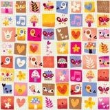 Cute flowers, birds, hearts nature seamless pattern Stock Photos
