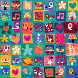 Cute flowers, birds & hearts pattern Stock Photo