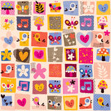 Cute flowers, birds & hearts pattern Stock Images