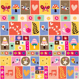Cute flowers, birds, mushrooms & snails collage pattern Royalty Free Stock Photography