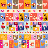Cute flowers, birds, mushrooms & snails collage pattern Stock Photo