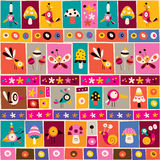 Cute flowers, birds, mushrooms & snails nature collage note paper pattern Royalty Free Stock Photos