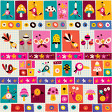 Cute flowers, birds, mushrooms & snails nature collage note paper pattern Royalty Free Stock Images