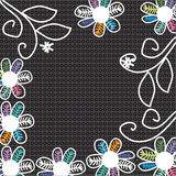 Cute  flowers on a black background, hand drawing  Royalty Free Stock Photos
