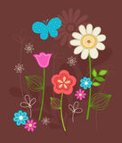 Cute Flowers and Butterfly Doodles Vector. Cute Flower Garden and Butterfly Doodles Vector  Illustration on Brown Background- Part of the my Spring Wings Stock Photo