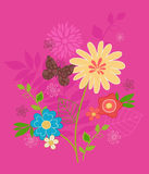 Cute Flowers and Butterfly Vector. Cute Flower Garden and Butterfly Vector Illustration on Pink Background- Part of the my Spring Wings Coordinating Design Stock Photos