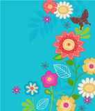 Cute Flowers and Butterfly Vector. Cute Flower Garden and Butterfly Vector Illustration on Turquiose Blue Background- Part of the my Spring Wings Coordinating Stock Images