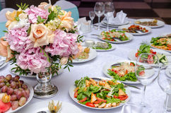 Cute flowers decoration on table in restorant Stock Photo