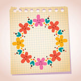 Cute flowers and hearts frame note paper cartoon illustration Royalty Free Stock Photo