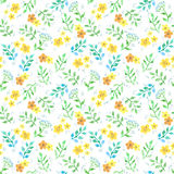 Cute flowers, herbs, grasses. Ditsy seamless pattern. Watercolor Royalty Free Stock Image