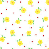 Cute flowers with leaves and polka dots. Floral seamless pattern. White, yellow, green, red, orange colour. Vector illustration Stock Photography