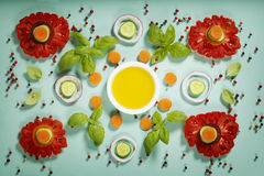 Cute flowers made of fresh organic vegetables Stock Photo