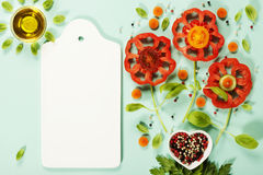 Cute flowers made of fresh organic vegetables Stock Photos
