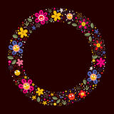 Cute flowers nature cartoon circle frame background Royalty Free Stock Images