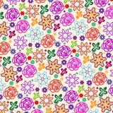 Cute flowers pattern over light beige background vector illustration