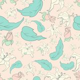 Cute flowers pattern. Cute seamless pattern with flowers and leafs for you design Stock Illustration