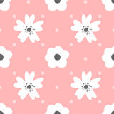 Cute flowers and polka dot. Seamless pattern for girls. Royalty Free Stock Images