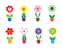 Cute Flowers In Pots. Eight Cute Flowers In Pots Vector Illustration Royalty Free Stock Photos