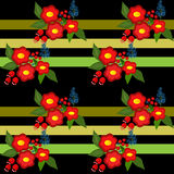 Cute flowers seamless pattern on black striped background Stock Images