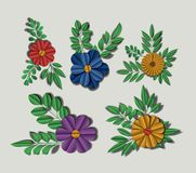 Cute flowers set icons Stock Photo