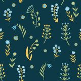Beautiful Flowers set, Vector seamless pattern. Royalty Free Stock Images