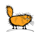 Cute fluffy cat, sketch for your design Royalty Free Stock Photo
