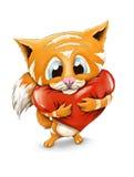 Cute fluffy ginger kitten holding a big heart Stock Photos