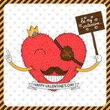 Cute fluffy heart with mustache Royalty Free Stock Image