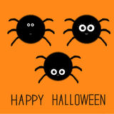 Cute fluffy spider set. Happy Halloween card. Flat design Royalty Free Stock Photography