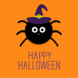Cute fluffy spider in witch hat. Happy Halloween card. Flat design Stock Photo