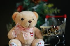 Cute fluffy teddy bear and coins in mini trolley with Mini Christmas tree decoration  on dark black background. Year end, Christmas and holiday conceptual Royalty Free Stock Photos