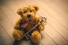 Cute fluffy teddy bear with golden key on the wonderful brown wo Royalty Free Stock Photos